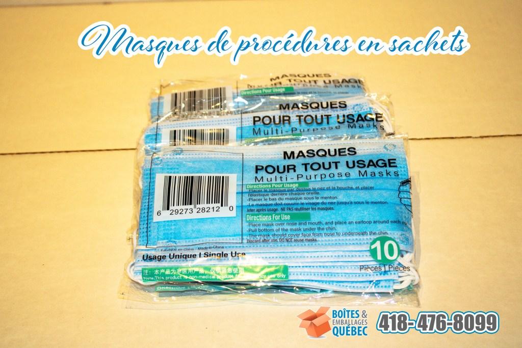 Masques de procédures couleur bleu jetables en sachet