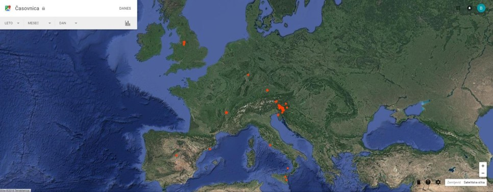 Lokacije v Evropi, ki sem jih obiskal leta 2016