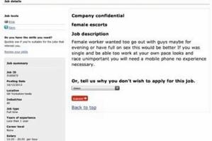 'Horny Escorts' agency Ads