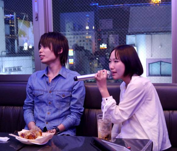 Karaoke with Asian model