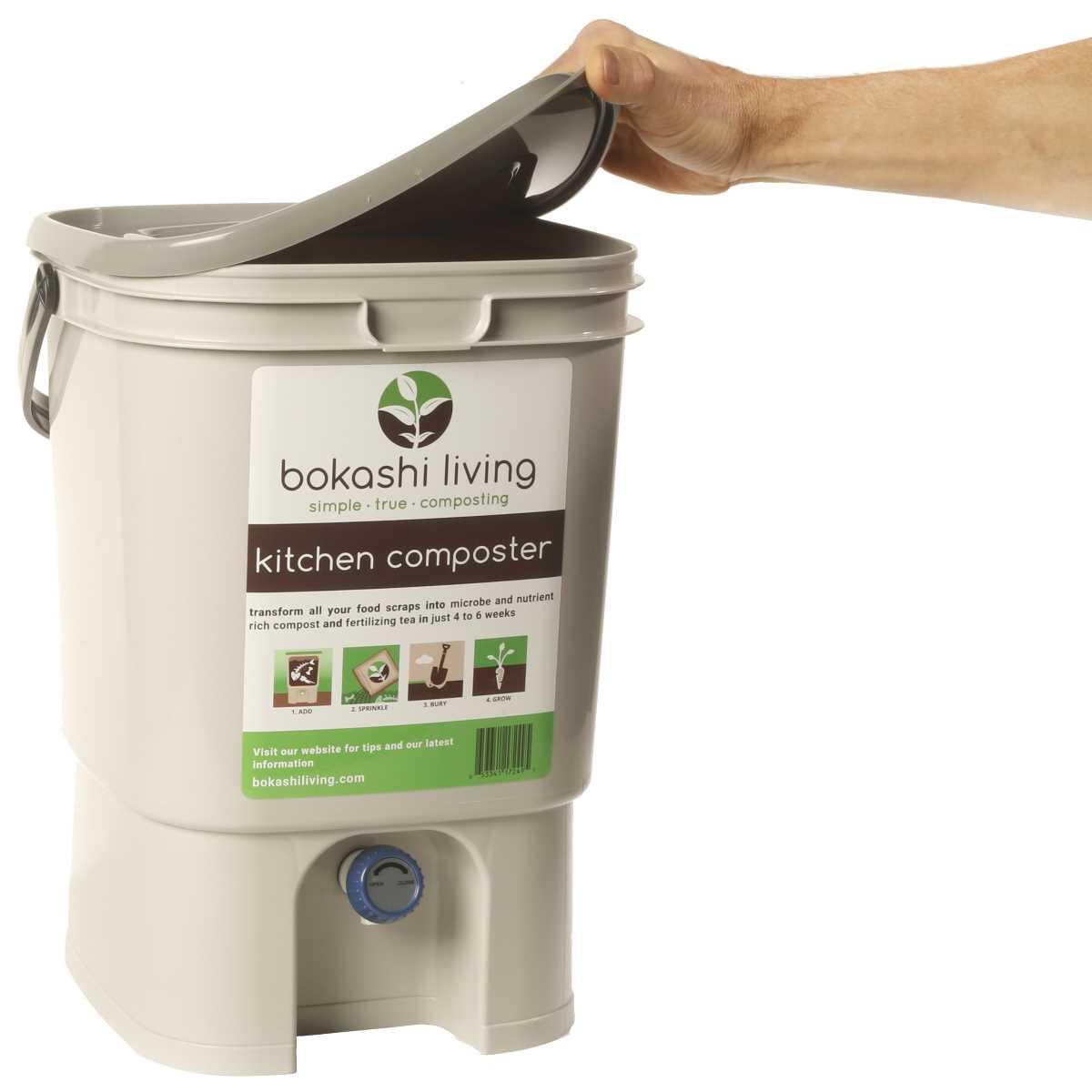 kitchen composter cabinet finishes 1 bokashi living bucket opening lid