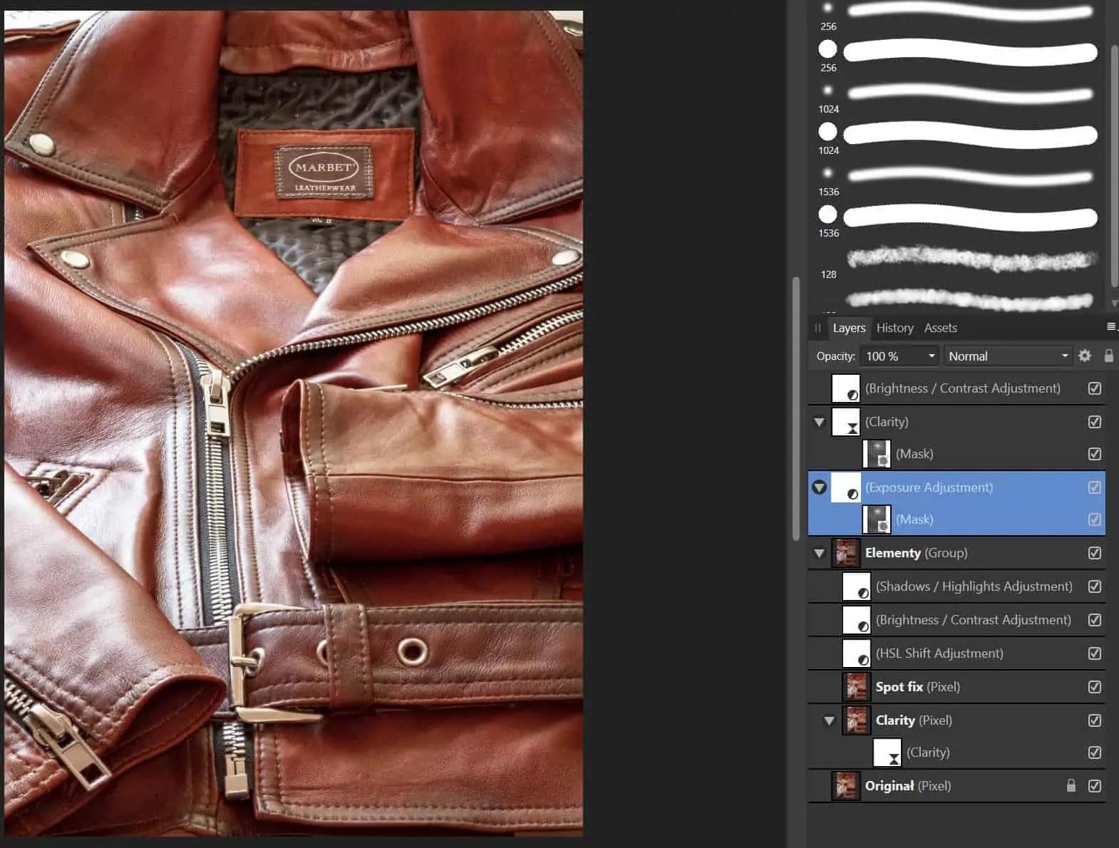 Obrobka zdjecia warstwy elementy i naprawa punktow - Kurtka skórzana Marbet 6 kroków do świetnej fotografii reklamowej