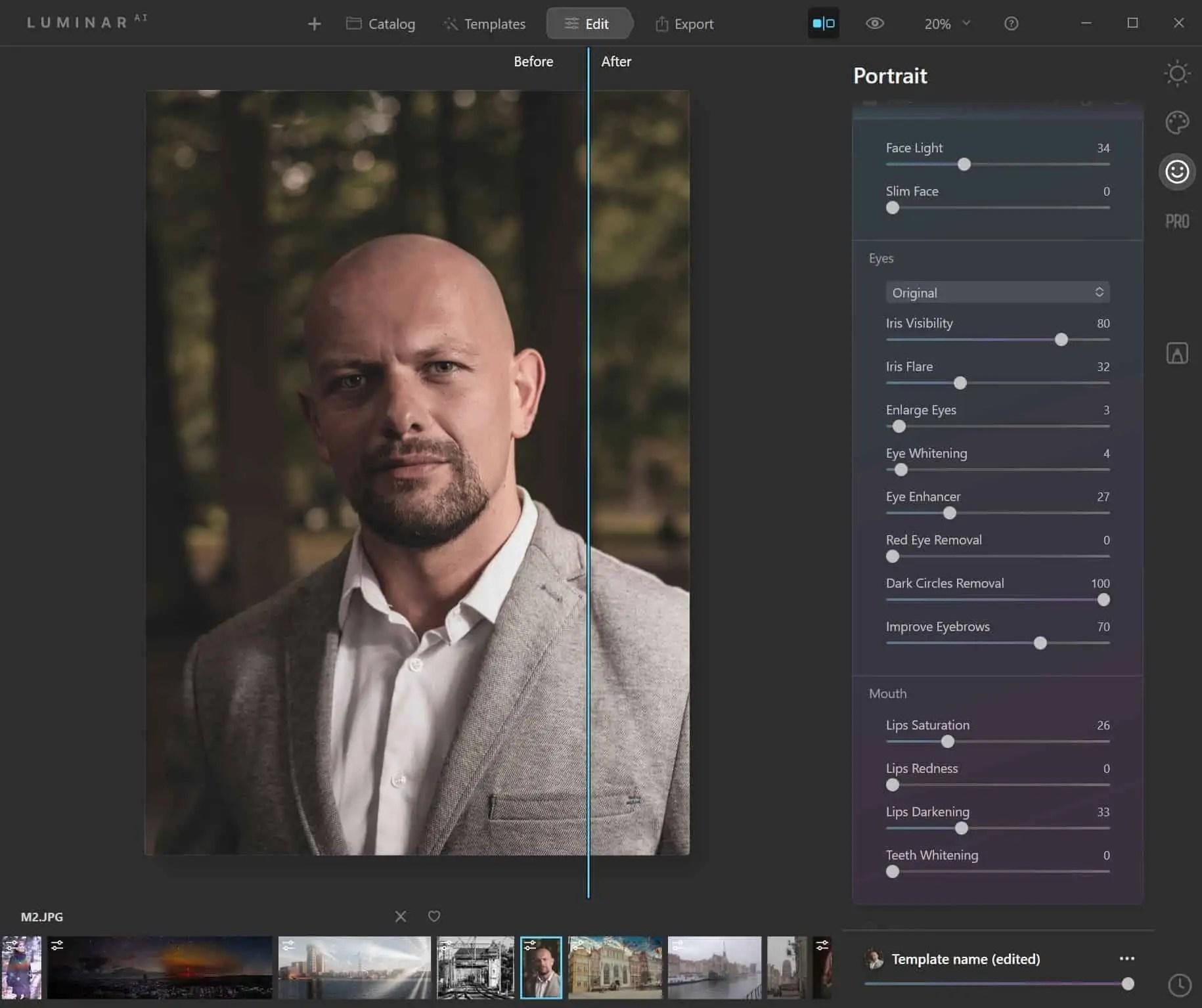 Program luminar ai retusz twarzy PRZED - Program Luminar AI po polsku czyli sztuczna inteligencja do zdjęc w 2020
