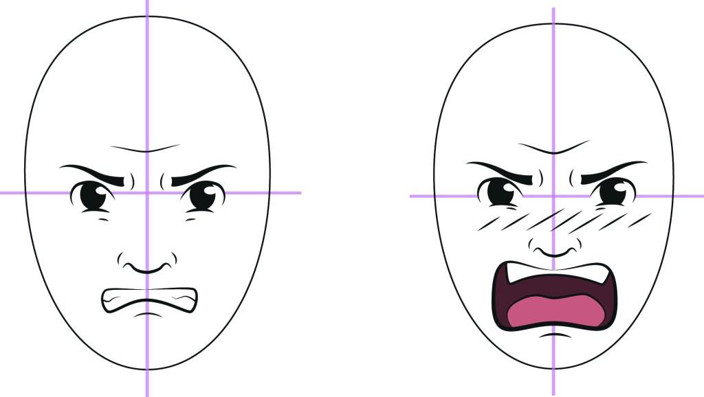 Rita ett ansikte - ansiktsuttryck arg