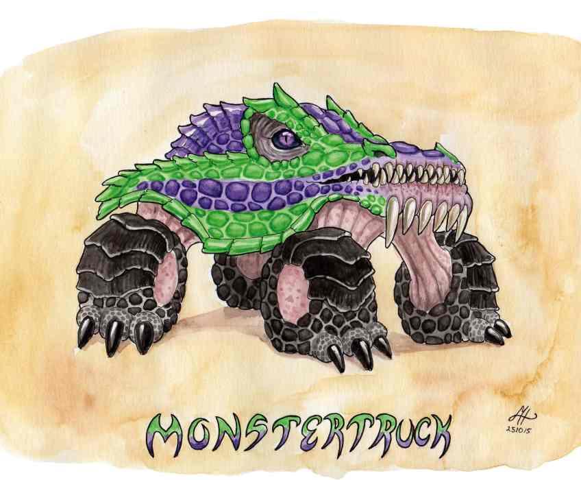 monstertruck ordvits illustration