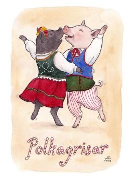 polkagrisar ordvits illustration