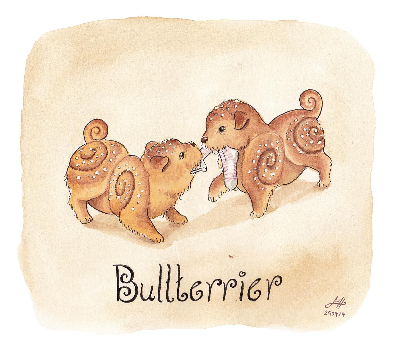 bullterrier ordvits illustration