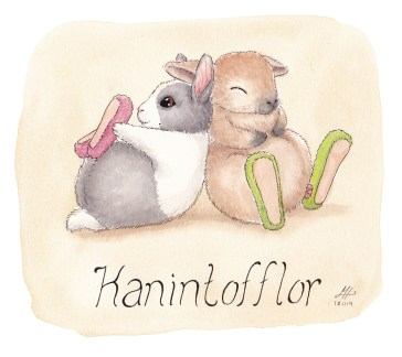 kanintofflor ordvits illustration