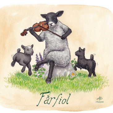 Fårfiol ordvits illustration