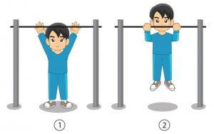 Latihan daya tahan otot lengan (naik palang tunggal)