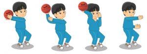 Melempar bola dari samping atas kepala dalam permainan bola basket