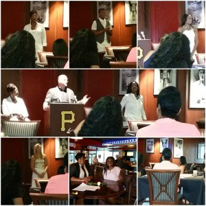 A collage of 7 pictures with Brian functioning as MC introducing the models and prompting them to tell their stories.
