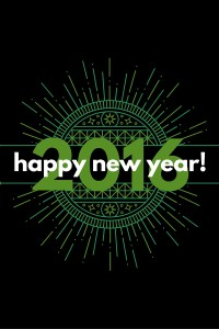 Happy New Year 2016 on top of a green decorative medallion graphic