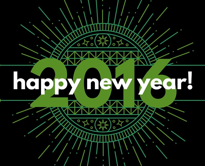Here's To Hope In the New Year! Description: Happy New Year 2016 on top of a green decorative medallion graphic