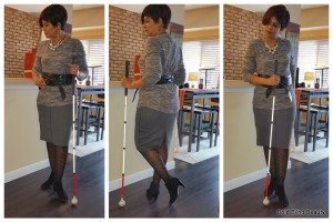 Charcoal gray pencil skirt, gray fleece sweatshirt belted with a black obi belt, black patterned tights, black booties.