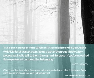 Quoted text is white against a transparent teal background overlaid on a black and white photo of trees in the fog with a solitary woman walking among the trees.