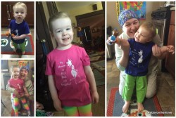 Collage of Holly Bonner and her two adorable little daughters who are wearing pink and blue Abigail Style tee shirts.