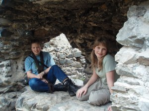 Arie and her niece exploring castle ruins in the Czech Republic