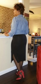 Standing pose rear view