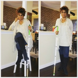 "Here's my ""give me strength to face mom outfit"" images of me sitting cross legged on a bar stool and one standing pose."