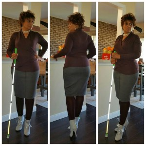 Collage of 3 images of me in standing poses with my white cane.