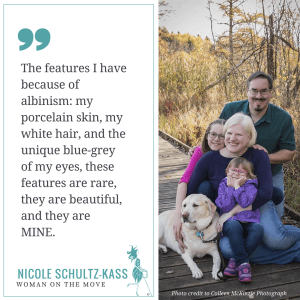 Nicole, her husband, two daughters and dog posing outdoors on a sunny autumn day along with her quote which is in the post.