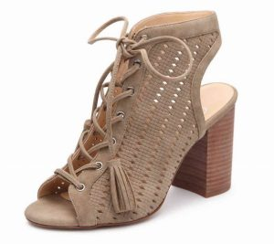 Jessica Simpson Tinnay Sandal in Nude: The Tinnay sandal has a block heel and ghillie styling to add a trendy touch to your look.