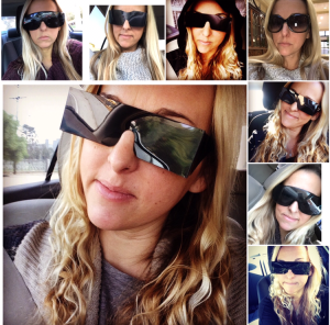 Collage of photos from different days in 2016 when Nicole had laser or injections or with her wearing the paper glasses from the retina specialist to protect her eyes from outdoor light. She posted these individually on IG throughout the year to promote awareness about diabetic retinopathy.
