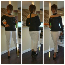 Tri collage of me posing in front of my counter with my white cane wearing a black off the shoulder choker top, white jeans, black suede chunky high heels and silver jewelry.