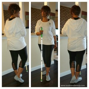 3-panel collage with me posed standing by my counter with my white cane. Outfit description is in the body of the post.