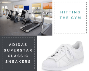 "Collage: 1) ""Hitting the Gym"" 2) A row of treadmills and exercise bikes 3) ""Adidas Superstar Classic Sneakers;"" 4) image of white sneaker"