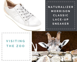 "Collage: 1) Silver/Tan Naturalizer Morrison Classic Lace-Up Sneaker. 2) ""Naturalizer Morrison Classic Lace-Up Sneaker"" 3) ""Visiting The Zoo"" 4) Stone wall with a giraffe peeping over it. All that can be seen is the giraffe's head from the eyes upward."