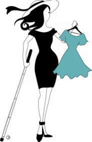 The Abby icon is depicted shopping by holding up a teal dress on a hanger in her right hand. She is wearing a stylish black off the shoulder dress, black heels with ankle straps and a white hat with a a black band with a loose end waving. In her left hand is her white cane.