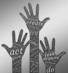 Illustration of three hands raised in the air as if volunteering, with words like: act, give, initiate, create, provide, try, adopt, seek, acquire, perform, do, do more, let go of, allow, etc. written all over them