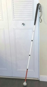 Standard White Cane W/Rolling Ball Tip