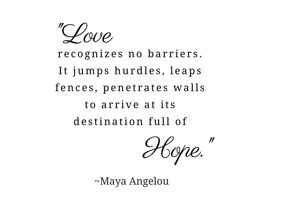 """Valentine's Day quote is in the body of the post. The image is black text on a white background. The words """"Love"""" and """"Hope"""" are emphasized in oversized cursive text."""