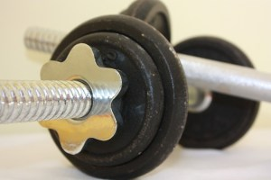 Closeup image of a barbell