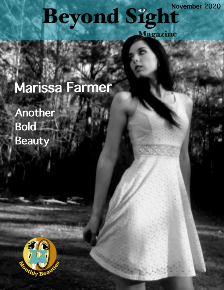 Beyond Sight Magazine Cover featuring Marissa Farmer is described in the body of the post.