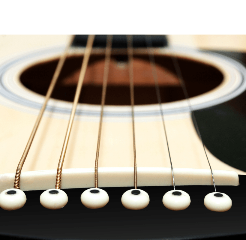 The header image is a closeup of the strings on a guitar.