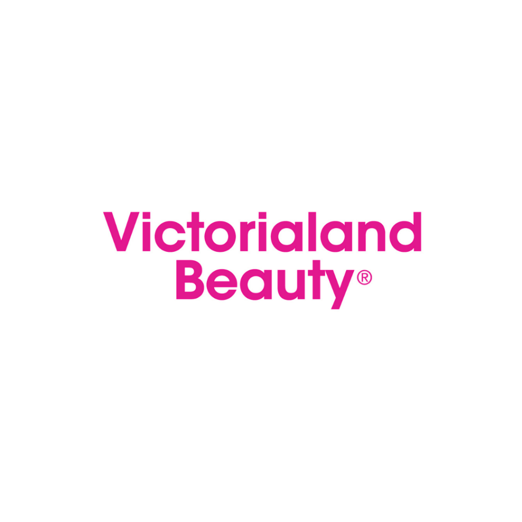 Victorialand Beauty pink wordmark logo on a white background