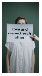 A live sign language demonstration for the phrase, love, and respect one another. Love is both arms crossed at the wrist over the chest. Respect is the index and middle fingers crossed with 1 vertical, circular revolution towards the body. Each other is a thumbs up on both hands with 1 horizontal, circular revolution in a counterclockwise direction.