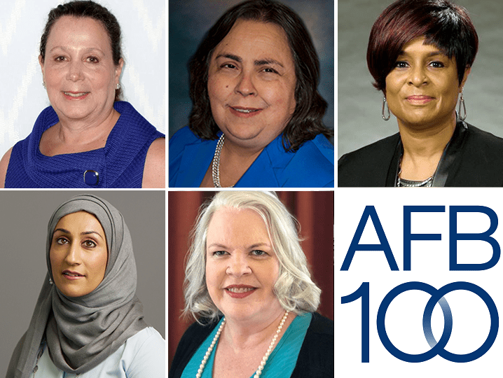 A collage of headshots. Top row from left to right: Janni Lehrer-Stein, Kathy Martinez, Stephanae McCoy. Bottom row from left to right: Sam Latif, Neva Fairchild, and the AFB100 logo