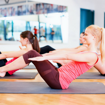 Sculpting core during Pilates class