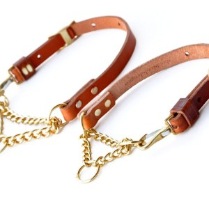 MG tan S M 2 - Leather Martingale Collar - chain and leather adjustable limited slip