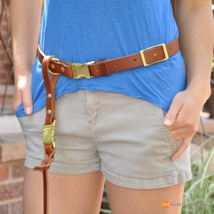 Belt on model closeup - Leather Belt for attaching a leash to your waist