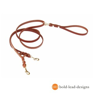 Two-Point Lead: a double-ended leather leash for walking harnesses