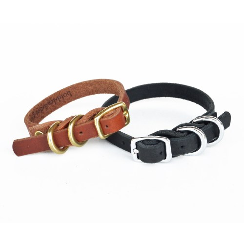 Dainty Dog Collar - Double D-Ring Leather Collar for Small Breeds