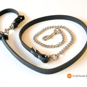 chain and leather 8 way lead 3806 - Chain and Leather 8-Way Lead™ - chew resistant versatile dog leash