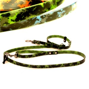 CAMO MULTI 2 - SPECIAL OFFER: Neon Camo 7 foot Hands-Free double-ended dog leash (vegan & waterproof)