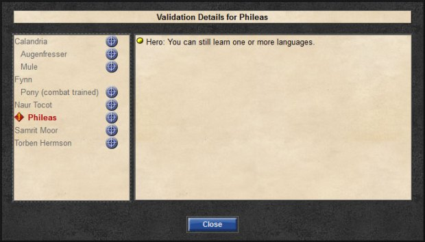 In this example, the stalwart paladin Phileas forgot to pick a language.